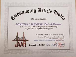 Doningo Sagnip Outstanding Article Award