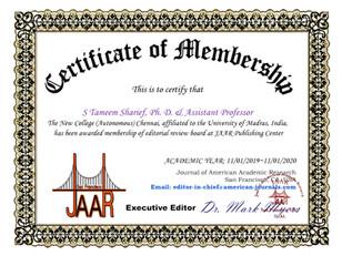 S Tameem Sharief Certificate of Membersh