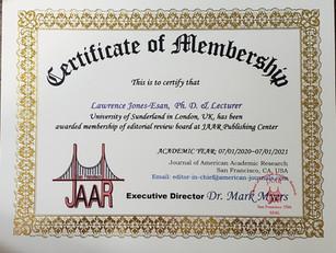 Certificate of Membership Dr. Larry Jone