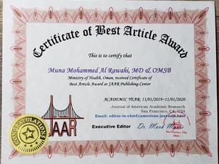 Muna Mohammed Al Rawahi Best Article Awa
