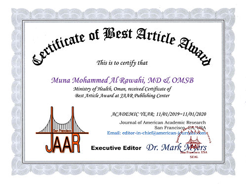 Certificate of Best Article Award