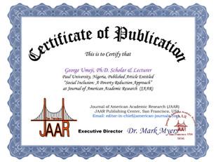 Certificate of Publication george umeji.