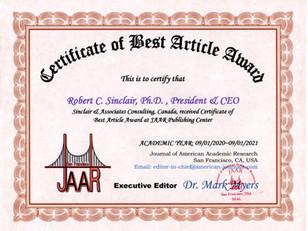 000 Best Article Award Robert Sinclair.j