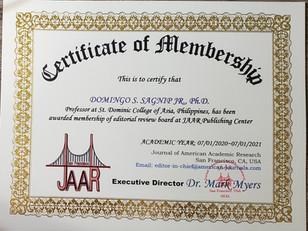Certificate of Membership Domingo Sagnip