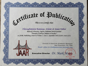 Oluwagbminiyi Bamisaye Publication ABOLA