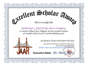 Certificate of Excellent Scholar Award D
