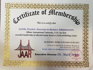 Certificat of Membership atuluri saritha