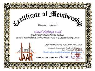 Certificate of Membership Michael Olugbe