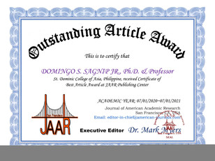 Certificate of Outstanding Article Award
