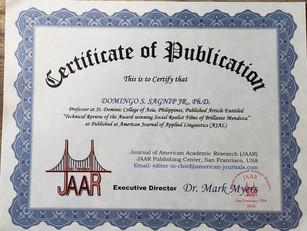 Certificate of Publication Domingo Sagni