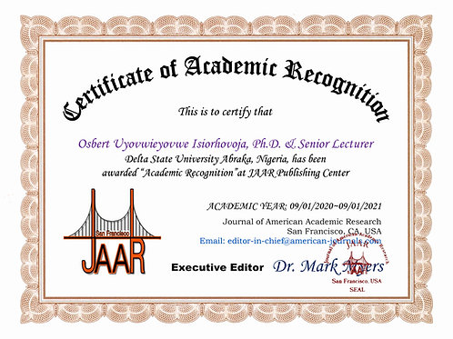 Certificate of Academic Recognition