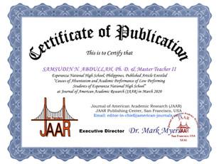 Certificate of Publication Samsudin Abdu
