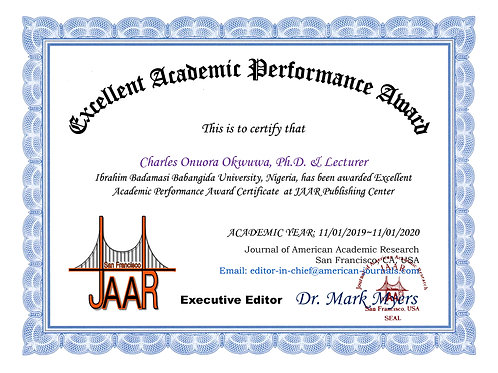 Excellent Academic Performance Award