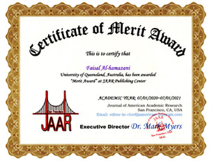 Certificate of Merit Award Faisal Al-ham