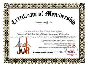 Zarrina Salieva Membership E-certificate