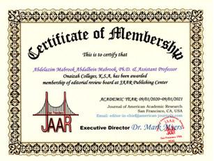 Certificate of Membership Abdelazim Mabr