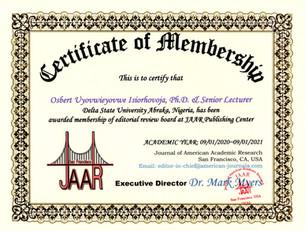 Certificate of Membership Isiorhovoja Os