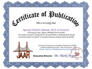 Certificate of Publication Ogunniyi Matt