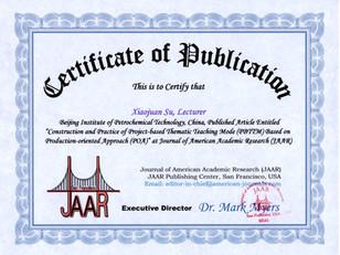 Certificate of Publication_Xiaojuan Su 0