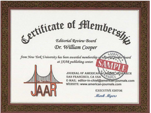 Certificate Of Membership  Journal Of American Academic Research