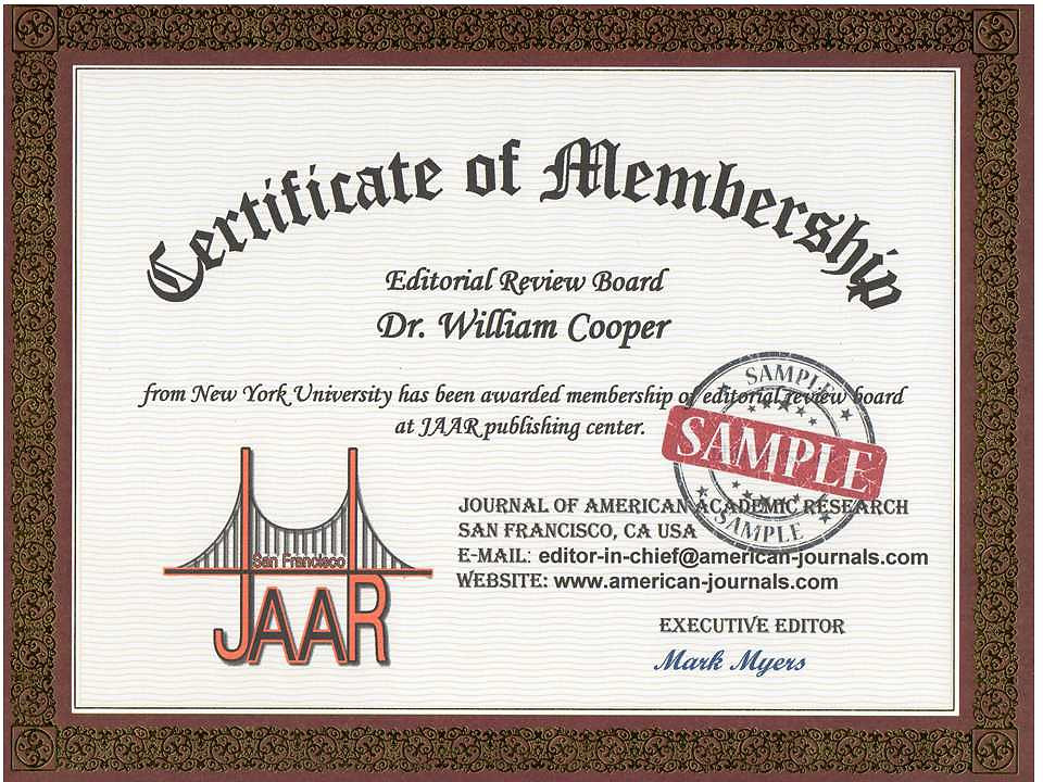 Journal Of American Academic Research  Certificate Of Membership