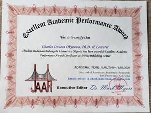 Charles Okwuwa Academic Performance Awar