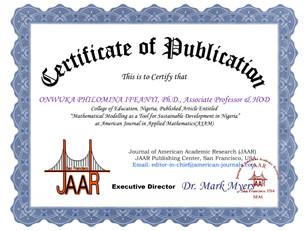 Certificate of Publicaiton Philomina Onw