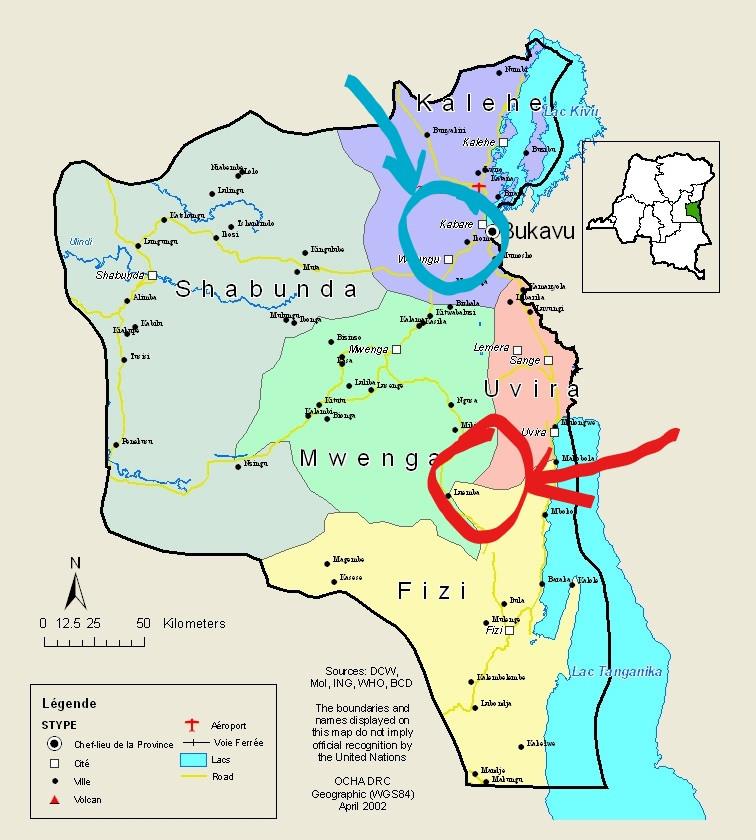 La distance entre domaine d'intervention de l'hôpital de Panzi et la zone rouge des conflits