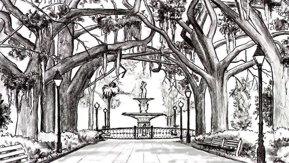 Forsyth Park Fountain B/W