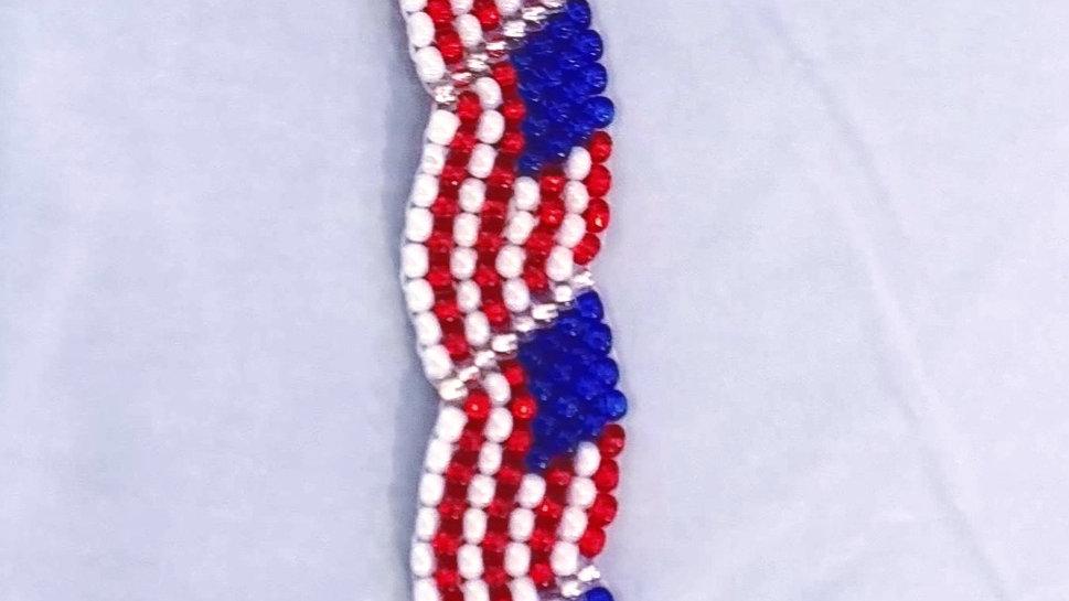 Beaded American Flag Bracelet