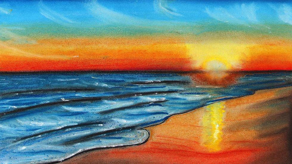 Matted Print - Tybee Beach, GA Sunrise by Gary Covell