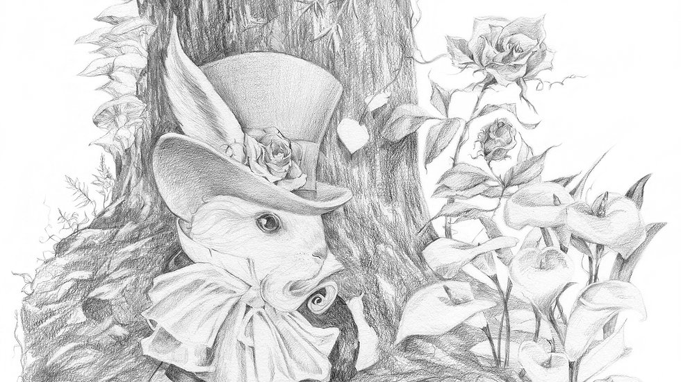 SOLD: Don't be Late, Follow the White Rabbit - Original