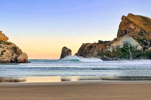Castlepoint Wave Break - New Zealand by Molly Cusick