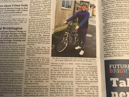The trip has made the news....well, locally anyway!