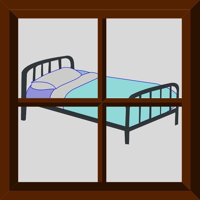 Clipart image of a bed in a window