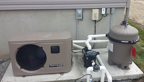 Pool connection heat pump salt system swimming pool 450 for Thermopompe piscine