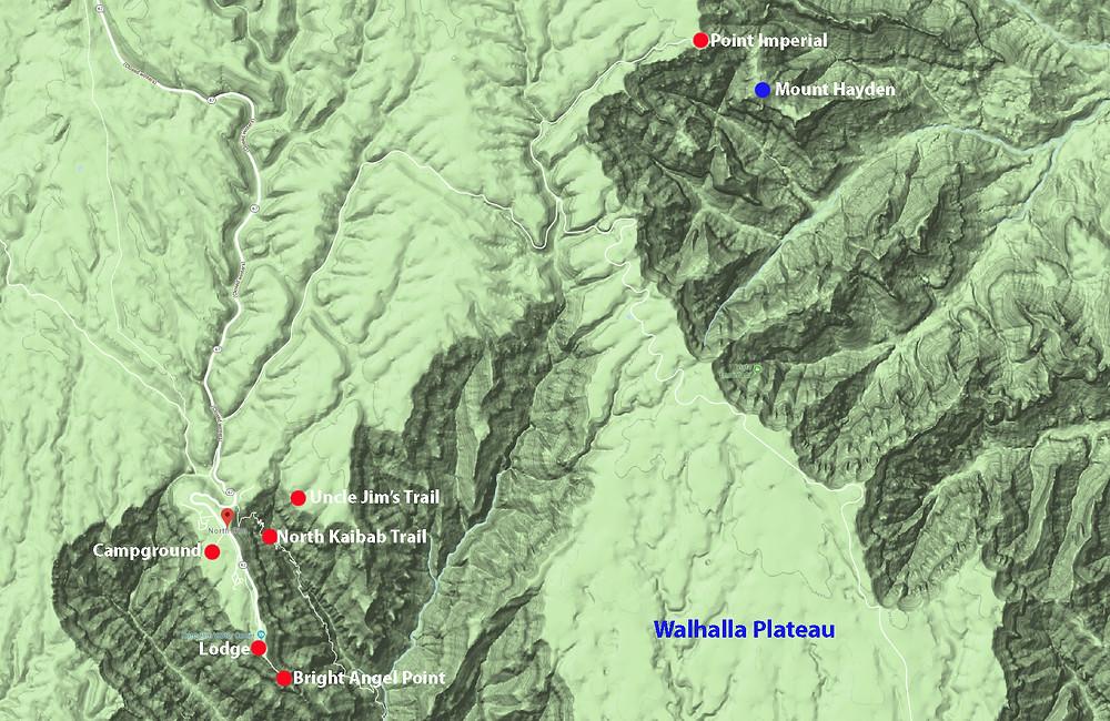 Grand Canyon map - North Rim - Photo Guide