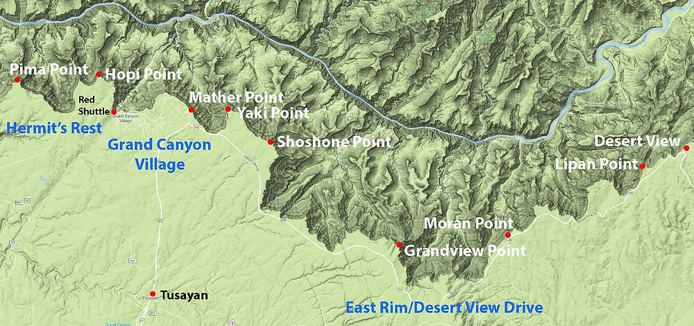 Map of Grand Canyon South Rim