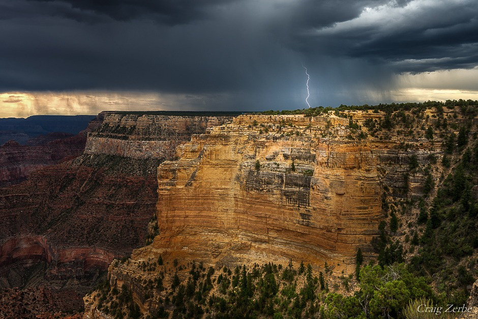 Grand Canyon National Park Powell Poinr - Monsoon Lightning