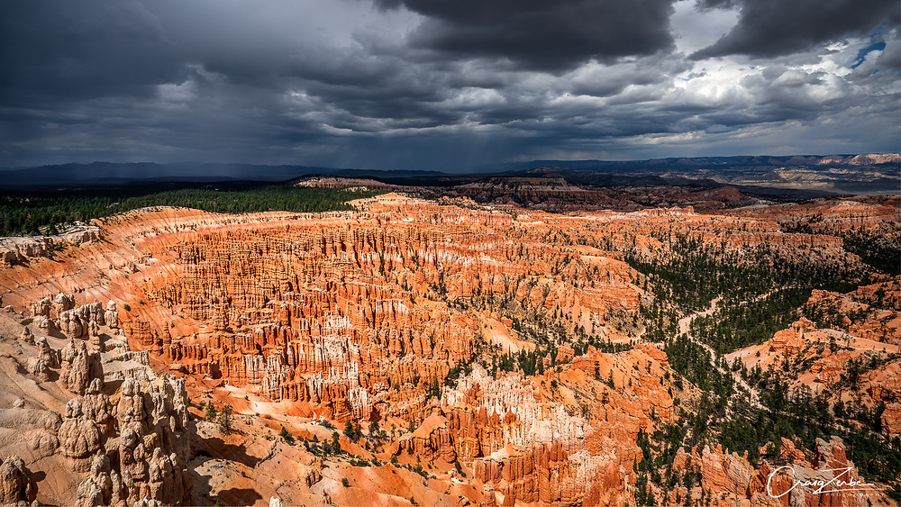 Bryce Canyon Amphitheater from Inspiration Point - Monsoon storm approaching - Photography Guide