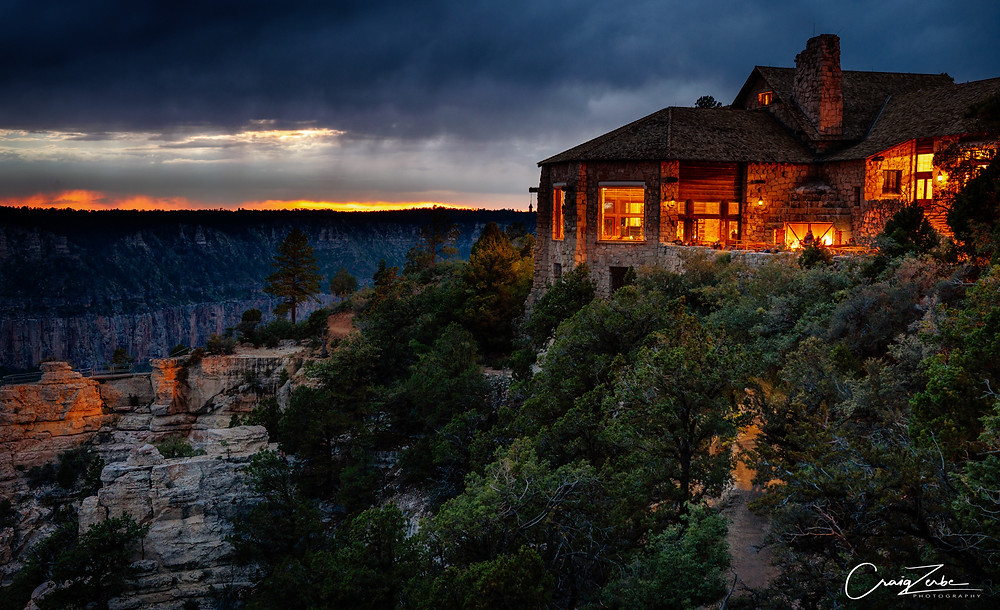 Historic Grand Canyon North Rim Lodge Sunset, photo guide