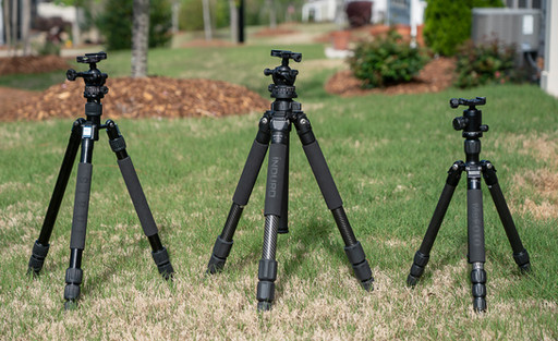 Tripods in collapsed position