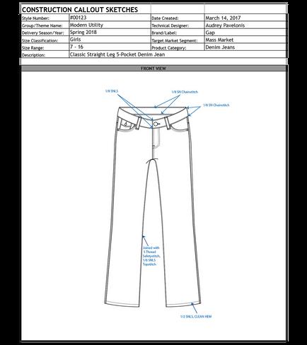 Denim Tech Pack | Construction Callout Sketches
