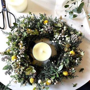 Seasonal Greenery Candle Holder Wreath