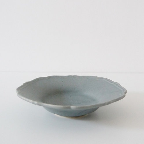 """RINKA"" Rim Shallow Bowl, Matte Blue Gray"