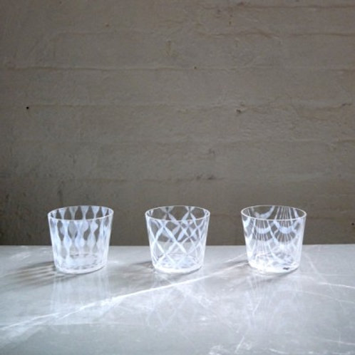 Taisho Roman Glass Cup, Set of 3
