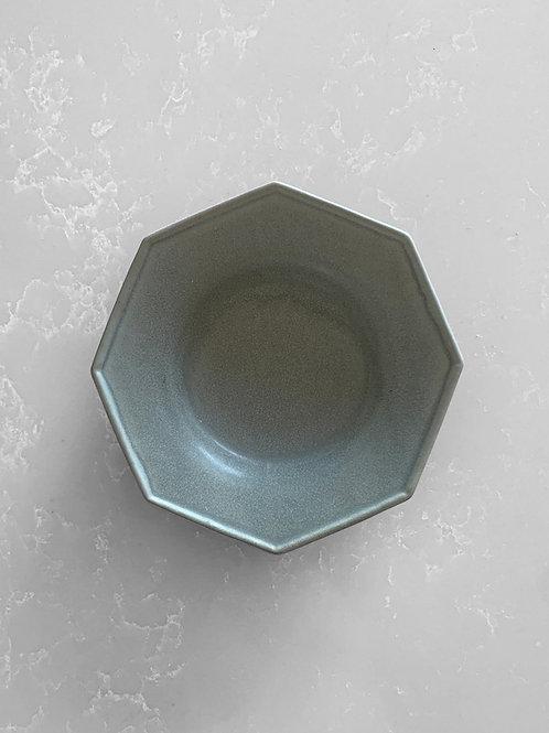 Octagonal Shallow Bowl, Matte Blue Gray
