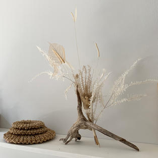 Dried leaves and Handcrafted flower Sculpture