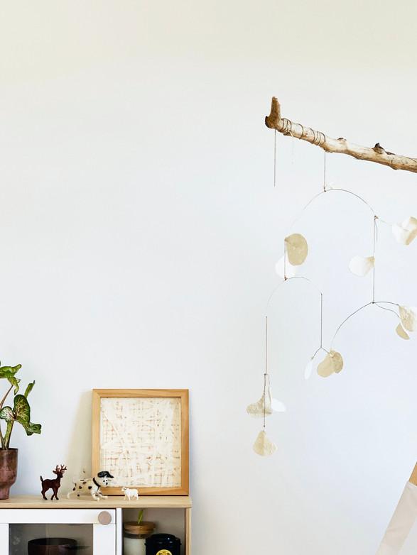 Japanese wagami hanging art mobile eucalyptus