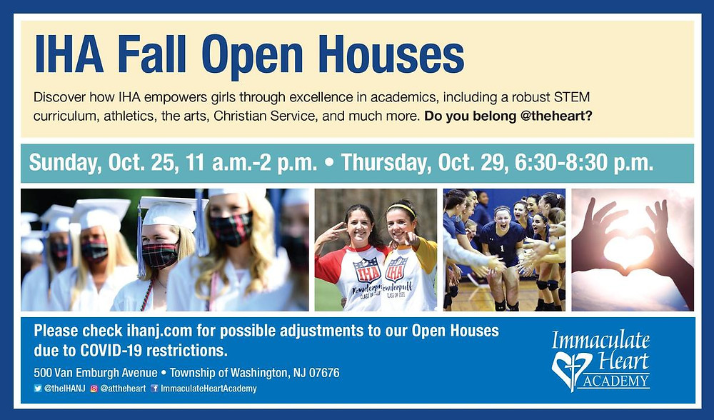 Fall OPEN HOUSE at Immaculate Heart Academy on Oct 25th and 29th, Bergen County Moms